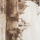 Photo:Front of church with school building on the left