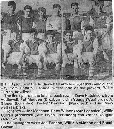 Photo:Addiewell Hearts football team of 1950.