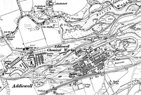 Photo:Addiewell village and oil works in 1922