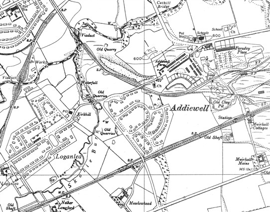 Photo:The two railway viaducts over the Breich Water can be seen in the top left hand area of the map.  The left one carried the West Calder loop line, a mineral line to Loganlea Colliery.  The other one connected Addiewell Oil Works to a line north up to Bathgate.