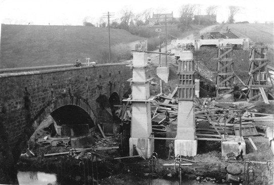 Photo:The new bridge, being built alongside the old.  Looking north towards Cuthill Farm.