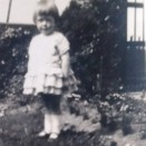 Photo:Jean Stein (Mrs Shirlaw), aged 3, in the garden of Beechwood Cottage, c.1930.