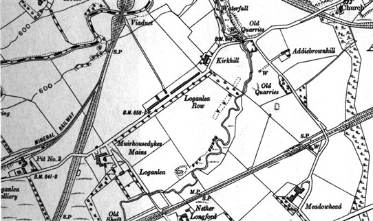 Photo:Map of Loganlea in 1922.  The site of the colliery can be seen on the extreme left.