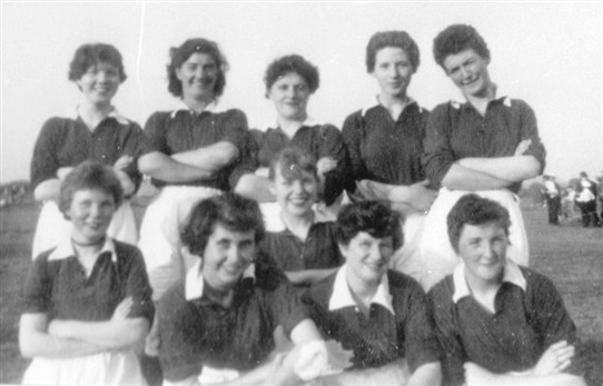 Photo:Ladies' football team, Loganlea, at a gala day, 1960s.   Back Row, L-R: M. Darcy, unknown, A. Steele, R. Young, C. Toner (now lives in Cincinnati, Ohio).  Front L-R: H. Darcy, M. Johnston, R. Yeardley, M. Steele, M. Kelly.  Thanks to Catherine Alleyne, Billy Kane and Anne Cassidy Hamilton for this information.