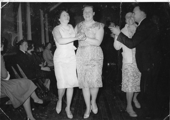 Photo:Ladies dancing in the 1950s or '60s.  But who are they?  Let us know!    (See information in the Comments at the foot of the page, kindly supplied by Jacqueline Shattock.)
