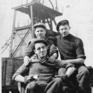 Photo:John Kelly (front), with Allan Mark and Tommy Curran, pithead workers at Loganlea Colliery, 1953.