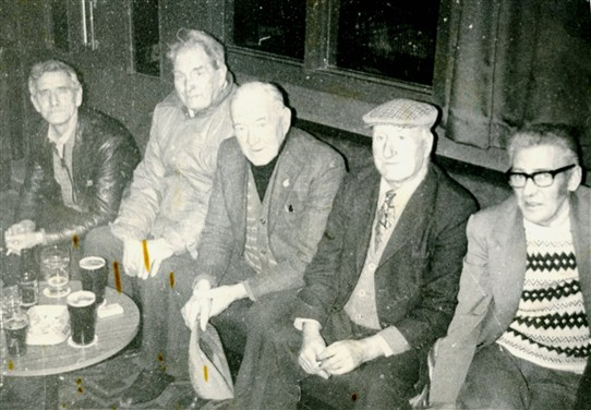 Photo:Loganlea Miners' Club in the 1960s.  (L-R): 'Cha' Steele; 'Bunty' Campbell; Danny White; 'Baldy' McDowal; John Crossan.