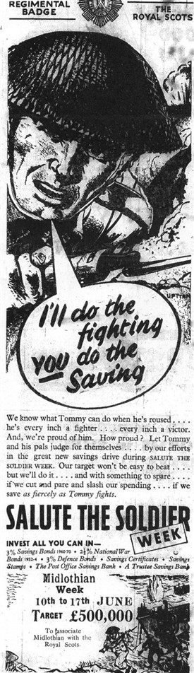 Photo:Advert for the Salute the Soldier savings campaign.