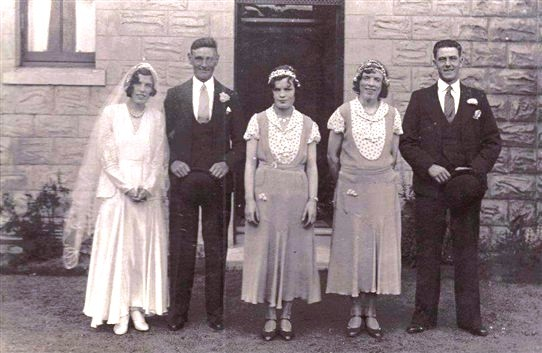Photo:The wedding of Wullie and Meg Welsh, Addiewell, 1930s?
