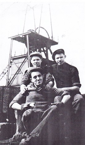 Photo:John Kelly, Hughie Mark, and Toss Curran at Loganlea Pit head in 1954